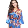 Pretty Bash Short Floral Satin Kimono Robe in Regular and Plus Sizes