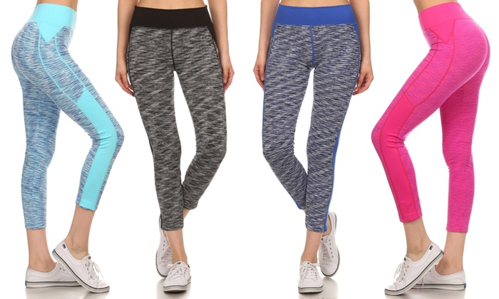 Women's Athletic Heathered Two-Toned Cropped Leggings