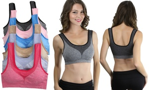 Women's Contrast Accent Padded Sports Bras (6-Pack)