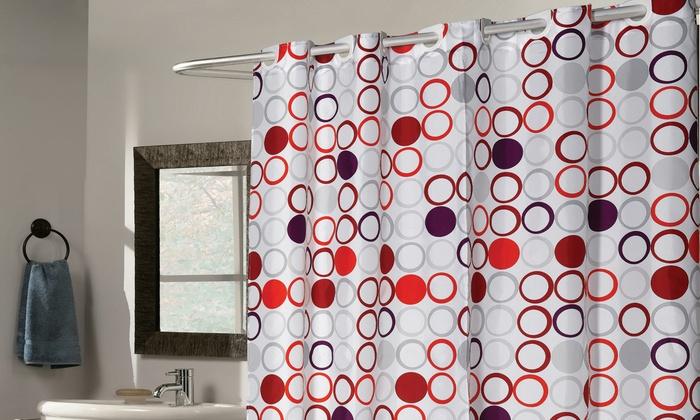 Fabric Shower Curtain Bohemia EZ OnNo Hooks Needed
