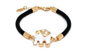 Rope And Swarovski Elements Elephant Bracelet In 18k Gold Plated Brass