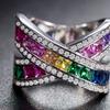 Rainbow Crystal X Ring with Swarovski Elements