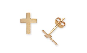 Cross Stud Earrings In 14k Gold