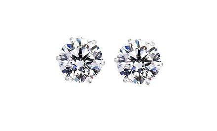 2.00 CTW Stud Earrings in Sterling Silver with Swarovski Elements
