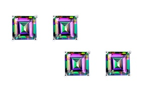 2.00 Ctw Mystic Topaz Solitaire Earrings By Gemmaluna (1 Or 2 Pairs)
