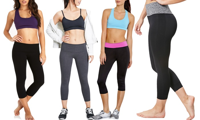 Women's Fold-Over Waistline Yoga Capris (2-Pack) | Groupon