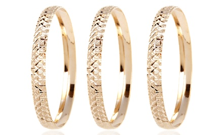 3- or 6-Pack of Diamond-Cut Bangles in 18K Gold-Plated Brass