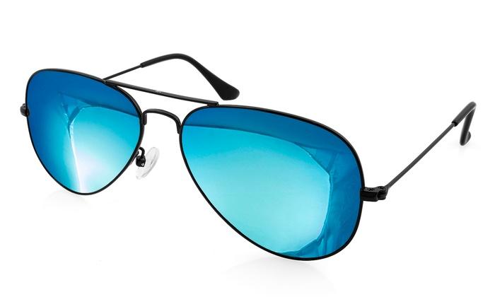 AQS Oliver Unisex Mirrored Aviator Sunglasses