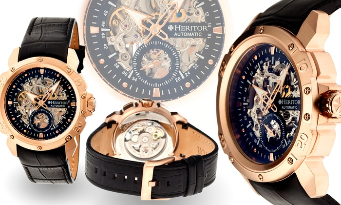 3ec7f43f7 Heritor Men's Automatic Nicollier or Carter Watch with Skeleton Dial from  $139.99–$149.99