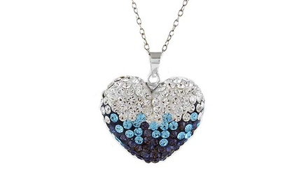 Montana Blue Crystal Heart Pendant with Swarovski Elements
