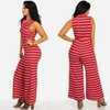 Juniors' Striped Belted Wide-Leg Jumpsuits