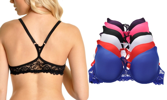Angelina Lace Racerback Front-Closure Wired Demi Bras (6-Pack)
