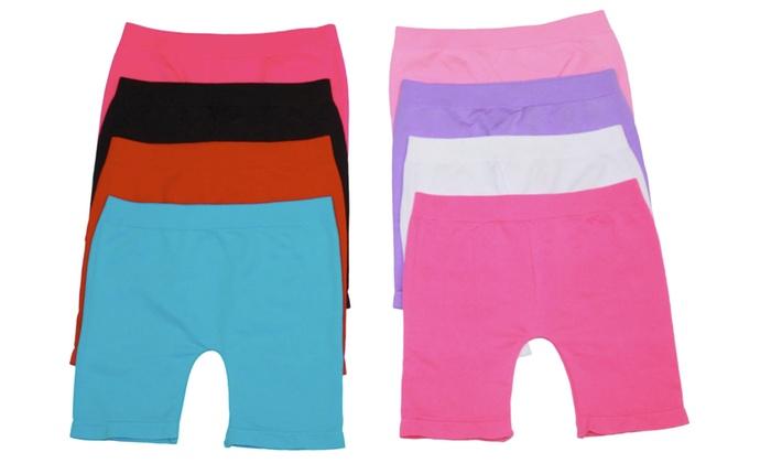 Girls' Above Knee Seamless Shorts (6-Pack): Girls' Above Knee Seamless Shorts (6-Pack)