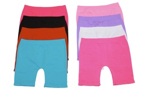Girls' Above Knee Seamless Shorts (6-Pack)