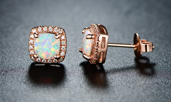 plated round stud opal white fire gold orange earrings dp com gemsme created amazon