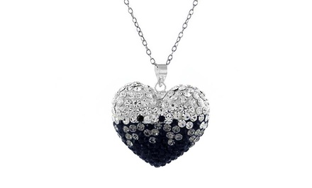 Crystal Heart Necklace with Swarovski Elements in Sterling Silver