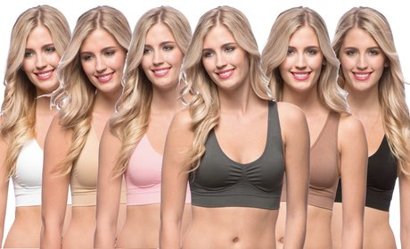 Seamless Sports Bras with Removable Padding (6-Pack)