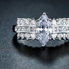 18K White Gold-Plated Marquise Cubic-Zirconia Ring