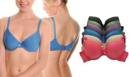 Wired Padded T-Shirt Bras with Convertible Straps and Extenders (6-Pack)