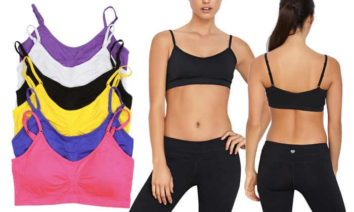 Padded Microfiber Cami Bralettes with Adjustable Straps (6-Pack)