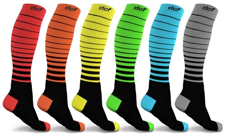DCF Unisex Striped Compression Socks (6-Pack)