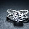 Braided Crisscross Cubic-Zirconia Engagement Ring in 18K White Gold