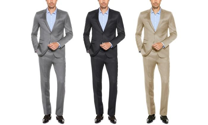 Verno Men's Slim-Fit Sharkskin Suits (2-Piece)