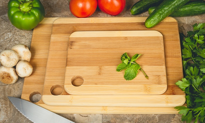 Bamboo Cutting Board Set 3 Piece Groupon