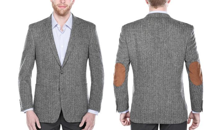 Verno Men's Wool Herringbone Blazers (Size 46R)
