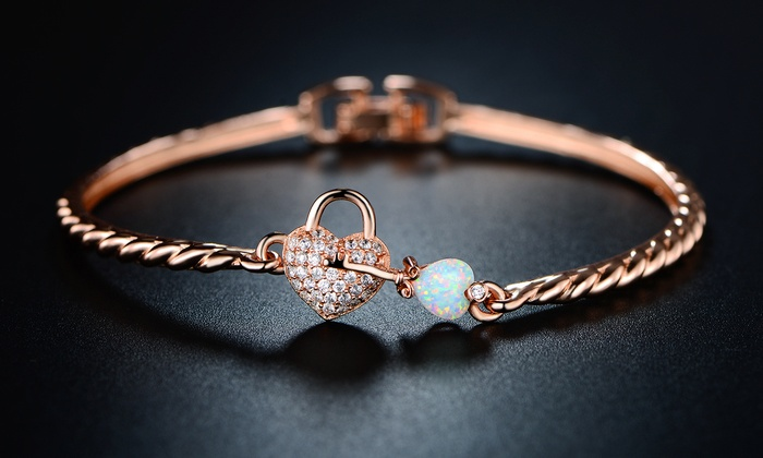 White Fire Opal Heart And Key Bangle In 18k Rose Gold Plating