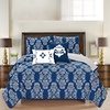 5 Piece Printed Reversible Quilt Sets with Bonus Decorative Pillows