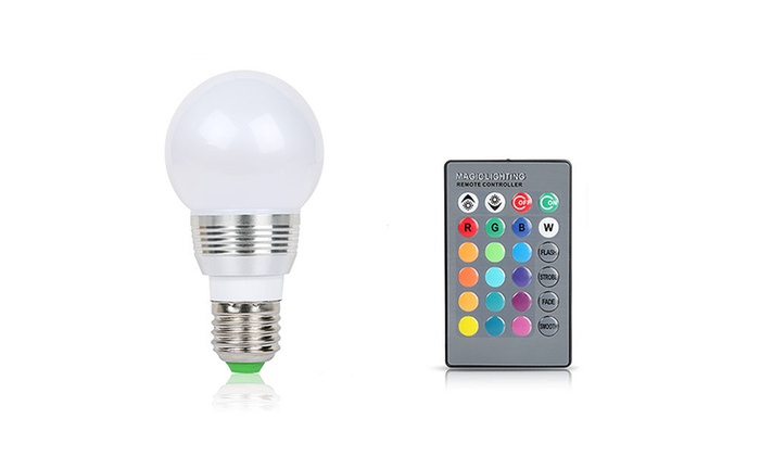 3w color changing led light bulb with remote control 1 2 3 or 4 pack. Black Bedroom Furniture Sets. Home Design Ideas