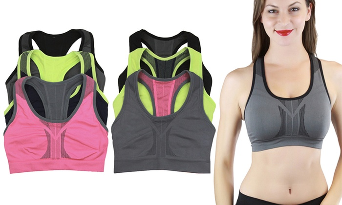 Women's Reversible High Compression Sports Bras (3-Pack)