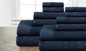 Set Of 12 100% Egyptian Cotton Jacquard Towels