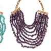 Amethyst or Turquoise Stone Multi Strand Statement Necklace