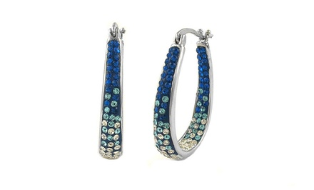 Montana Blue Graduated Inside Out Hoop Earrings made with Swarovski Elements