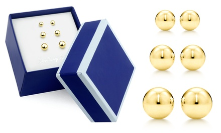 Paolo Fortelini 18K Gold-Plated Sterling Silver Stud Earring Set (3 Pairs)