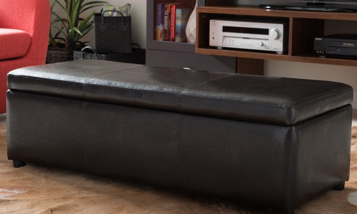 Bonded Leather Storage Ottoman - 10% Off On Bonded Leather Storage Ottoman Groupon Goods