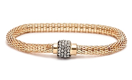 Cubic Zirconia Meshed Bracelet with Magnetic Clasp