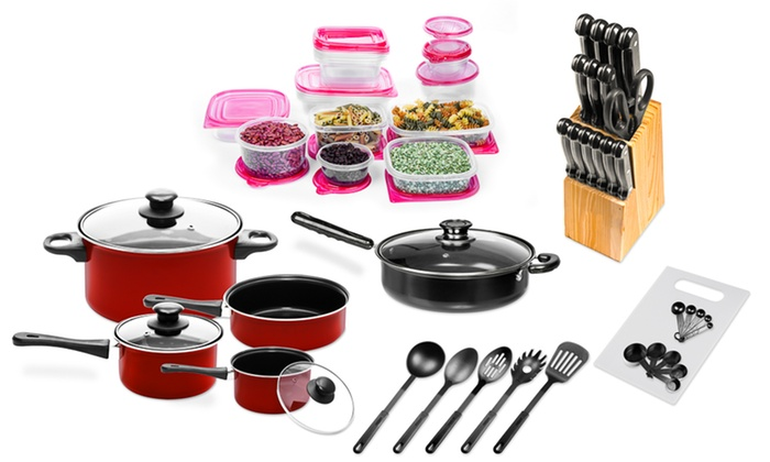 Imperial Home Nonstick Carbon Steel Cookware Starter Set (72 Piece):  Imperial Home ...