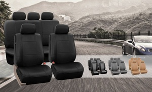 Full Set Of Faux-leather Car-seat Covers Airbag Compatible And Split Rear
