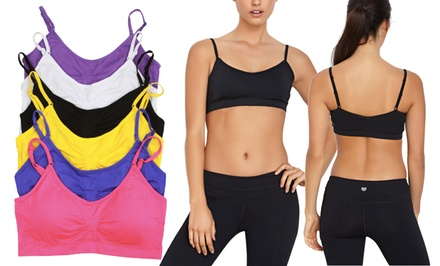 6-Pack of Padded, Seamless Cami Sports Bras with Adjustable Straps