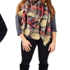Peach Couture Oversized Plaid Blanket Shawl (2-Pack)