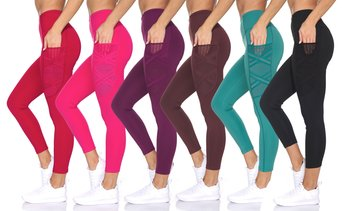 BSP Women's High Waist Capri Length Leggings with Crossed Mesh Detail