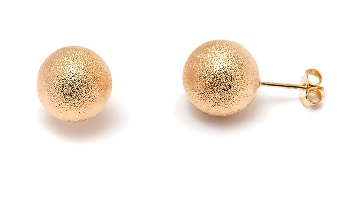 18k Gold Plated Diamond Cut Ball Stud Earrings