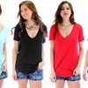 Lyss Loo Women's Deep-V Tee in Regular and Plus Sizes