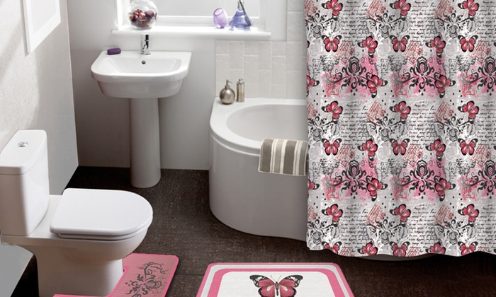 Butterfly 15-Piece Shower Curtain and Bath Rug Set | Groupon