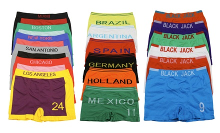 Men's Seamless Microfiber Sports-Themed Boxer Briefs (6-Pack)