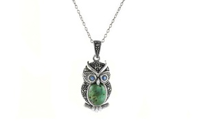 Genuine Marcasite and Turquoise Owl Pendant with Swarovski Elements