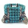 Genuine Turquoise Multi-Tier Stretch Charm Bracelet